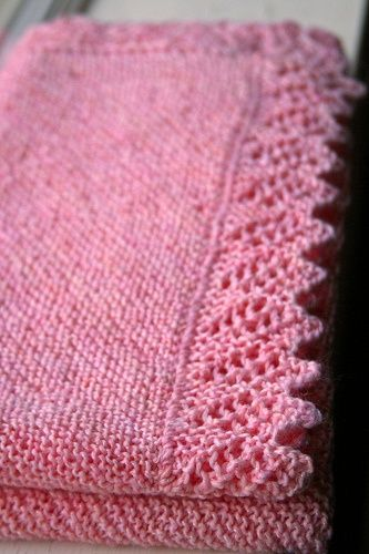 pattern 'Easy Baby Blanket with Lace Option' by Denny Kelly on Ravelry..... click thru the picture twice.  This is a FREE PDF download and knit in 8ply DK on 4mm needles