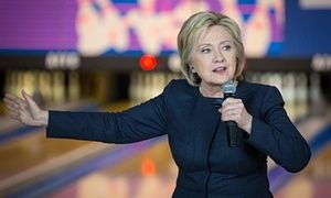 Hillary Clinton speaks at a campaign event at the Family Fun Center in Adel, Iowa.