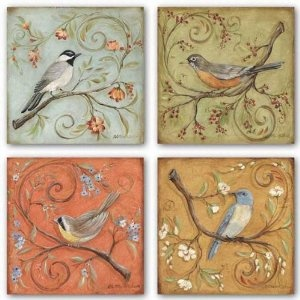 Kate McRostie, bird decor - living room, flanking front windows