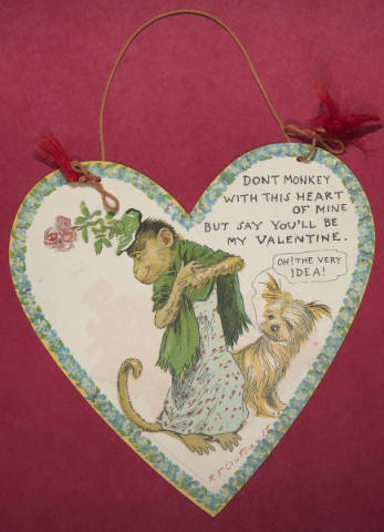 """""""Don't monkey with this heart of mine but say you'll be my Valentine,"""" ca. 1904-1906. From the Marjorie Eames Collection, Archives & Special Collections, Mount Holyoke College."""