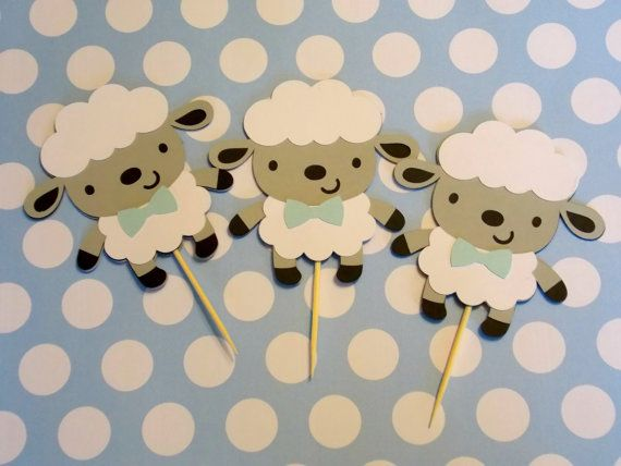 Boy Sheep Cupcake Toppers/ Sheep Centerpieces/ by Klutterella