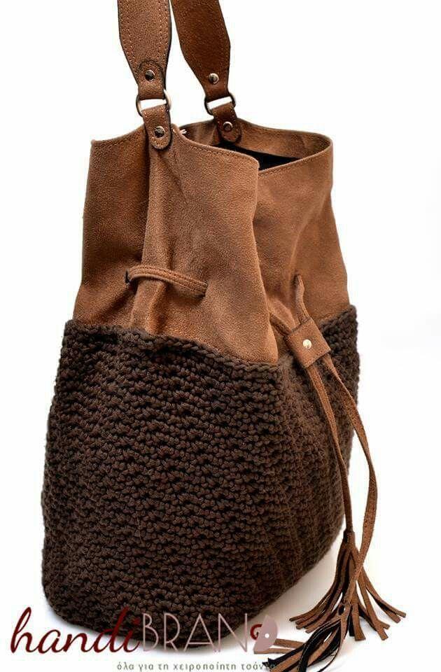 suede...σουέτ πουγκί...crochet..handmade Handmade Handbags & Accessories - http://amzn.to/2iLR27v