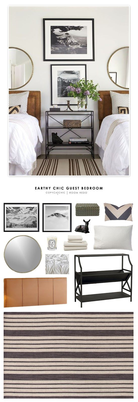 An earthy chic guest bedroom designed by Andrew Brown and recreated for less by Copy Cat Chic. by @audreycdyer