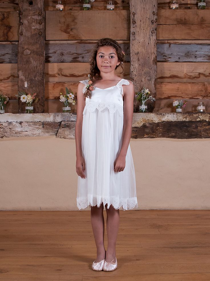 Image of Ivory Cecilie Dress with English Lace - Boho lace flower girl dress