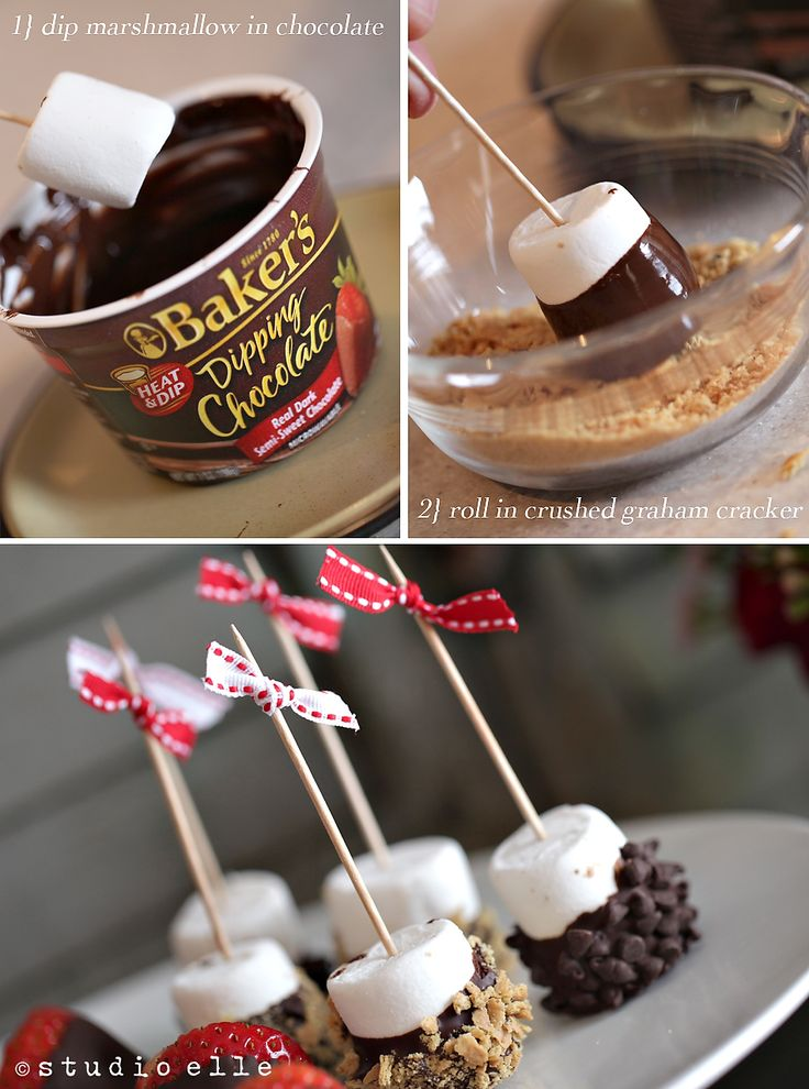 I made these minus the toothpicks for a hot chocolate party this year.  Amazing.  Try strawberry and coconut marshmellows as well.  I may or may not have eaten a whole bag of marshmellows over a week:)