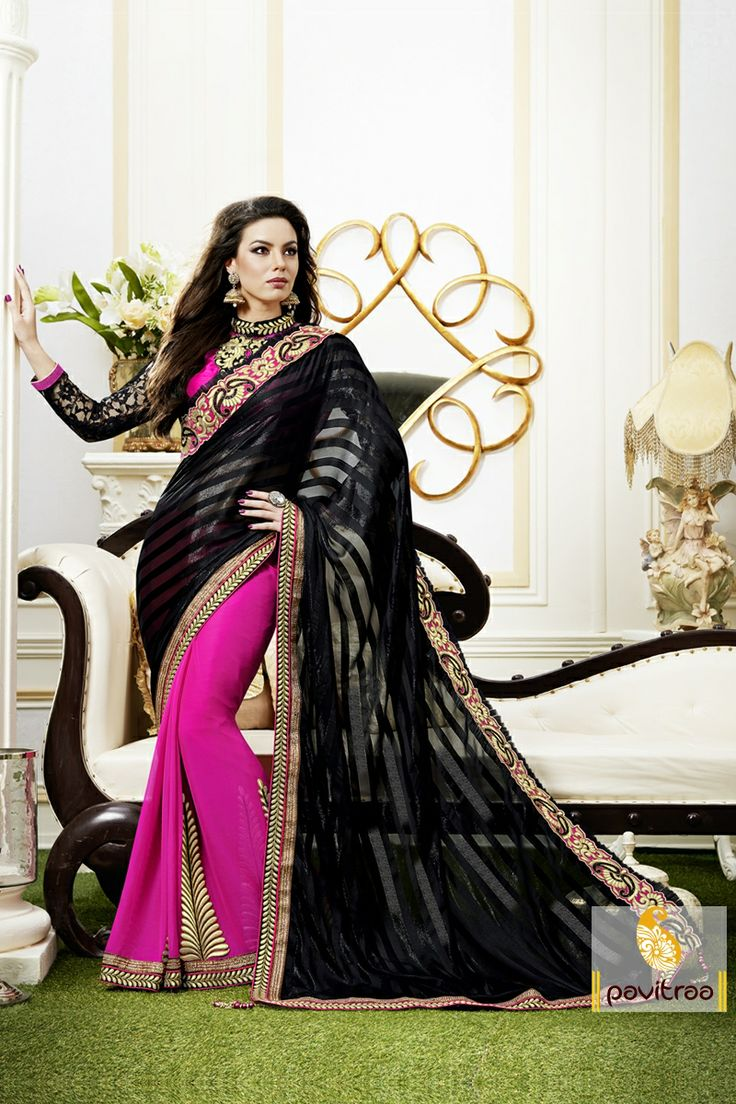 Pavitraa Black and Pink saree crafted with Zari, Stone and patch work more..