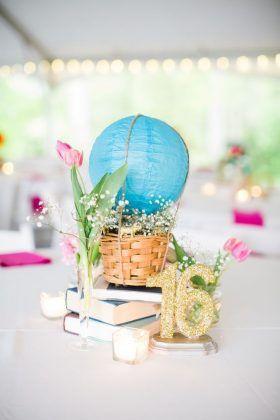 paper lantern hot air balloon wedding centerpiece via robyn van dyke photography