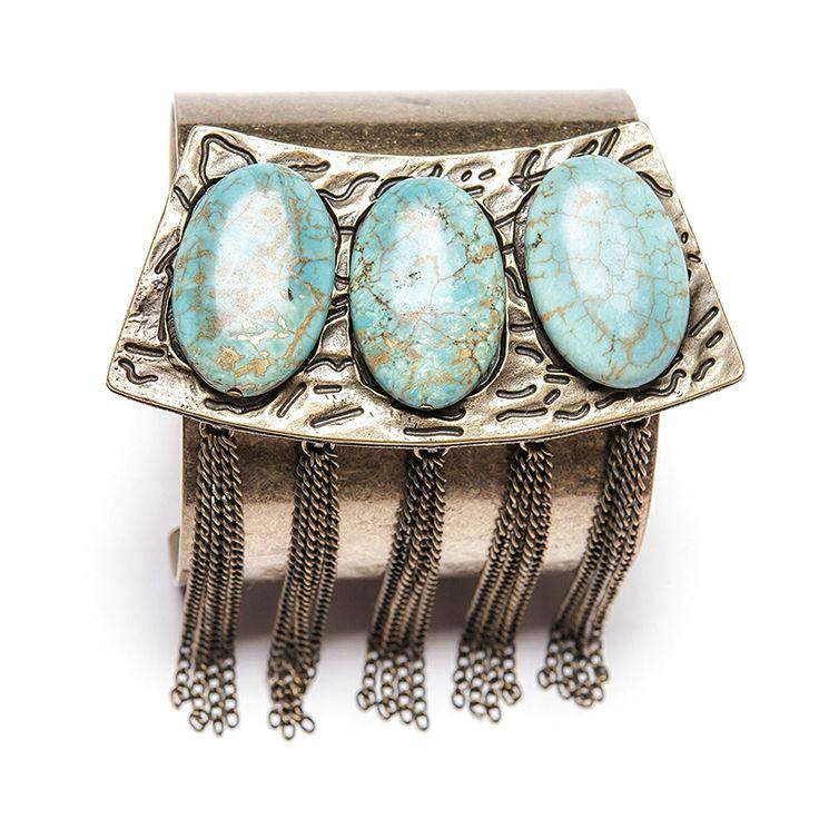 Bracelete ouro velho com metal trabalhado, turquesas e correntes