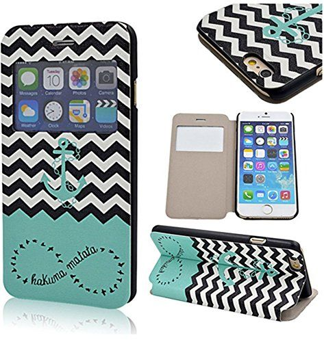 Leather Case for iPhone 6 Plus - Smart Window View - Flip Cover Protective Skin - Stand Book Shell - Folio Case Stylish Leather Stand Case Flap Pouch Cover Skin (Wave Anchor Hakuna Matata) Comfort Widgets http://www.amazon.com/dp/B00T40KRDM/ref=cm_sw_r_pi_dp_5o6Bvb03JBJ2R