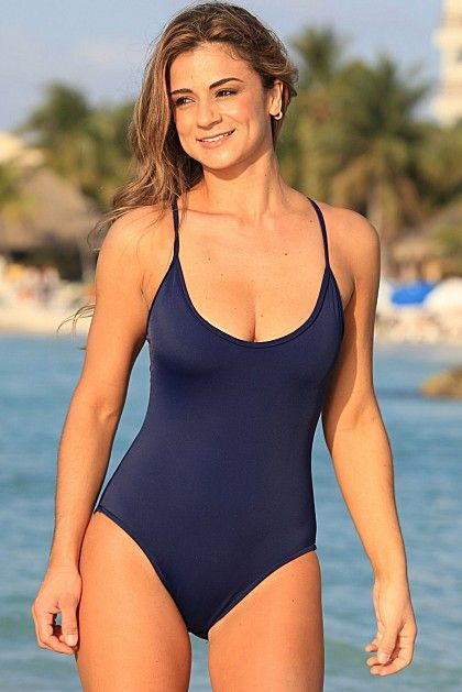 Figure Flattering One Piece Swimsuit In Navy Blue Fabric