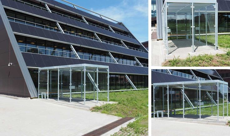 Een transparante rokersoverkapping met bank en asbakken is gemonteerd bij Sensata Technologies in Hengelo (OV). Bij de voor- en achteruitgang van het nieuwe kantoor zijn twee peukenpalen geplaatst. https://www.falco.nl/projecten/rokersoverkapping-bij-nieuwbouwkantoor-sensata-technologies1/