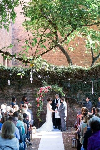 Outdoor wedding ceremony at The Firehouse Restaurant