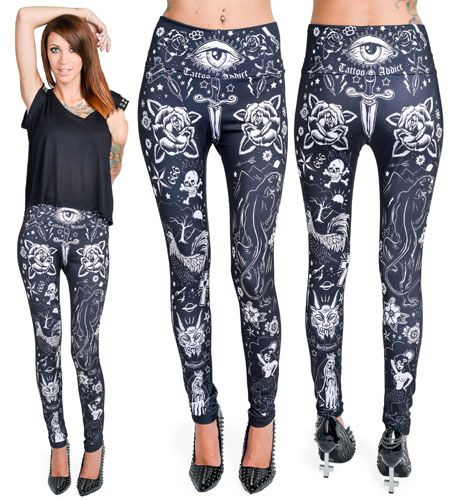 tattooed high waisted leggings by too fast clothing