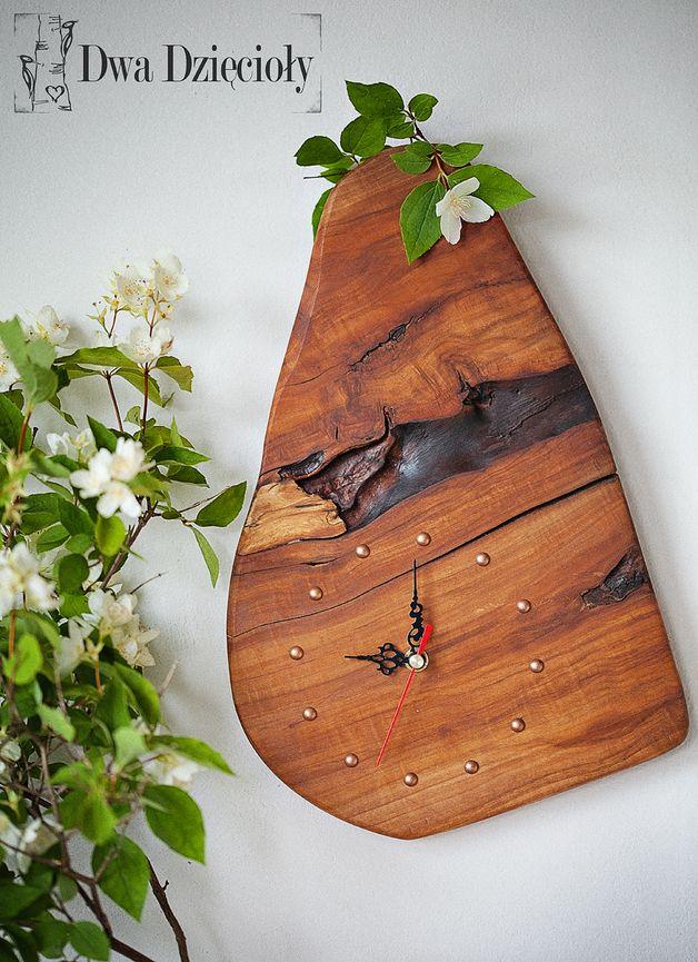 ZEGAR - JABŁONIOWY UNIKAT - Dwa Dzięcioły - hand made wooden clock
