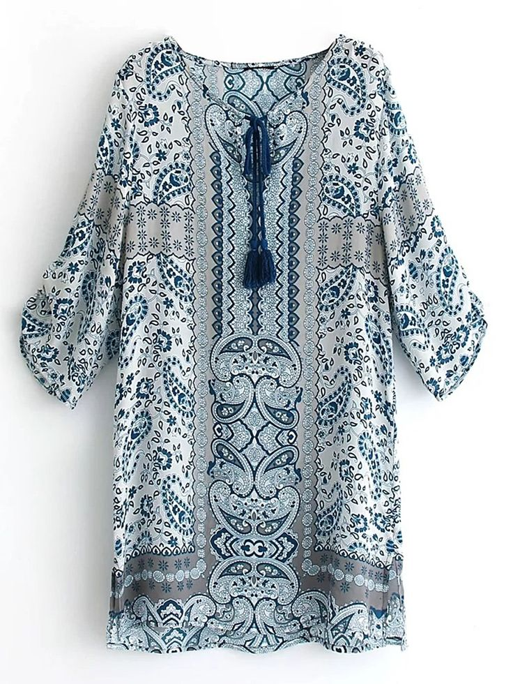 Shop Paisley Print Tassel Tie Shift Dress online. SheIn offers Paisley Print Tassel Tie Shift Dress & more to fit your fashionable needs.