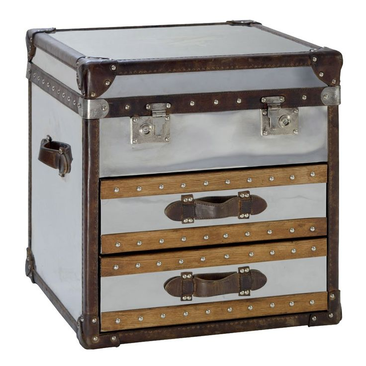 Inspired by travel from a bygone age, this vintage look, square chrome finish steamer trunk with worn leather trims and handles will sit perfectly in both a contemporary and traditional setting.