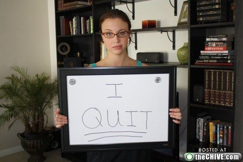 Girl quits her job via dry erase board and emails entire company.