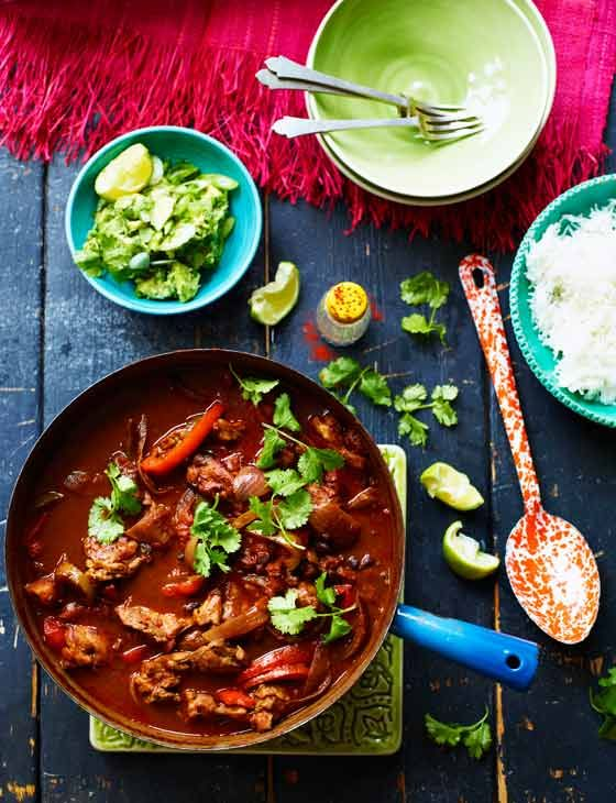 Smoky chipotle chicken one-pot with chunky coriander guacamole  - Sainsbury's Magazine