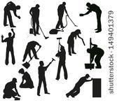 Clip Art Window Cleaner | Big set of thirteen professional cleaners black silhouettes