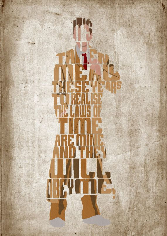 Tenth Doctor, Doctor Who, David Tennant Poster  - Minimalist Typography Poster, Movie Poster, Art Print, Illustration, Wall Art