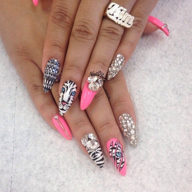 white tiger with pink and bling