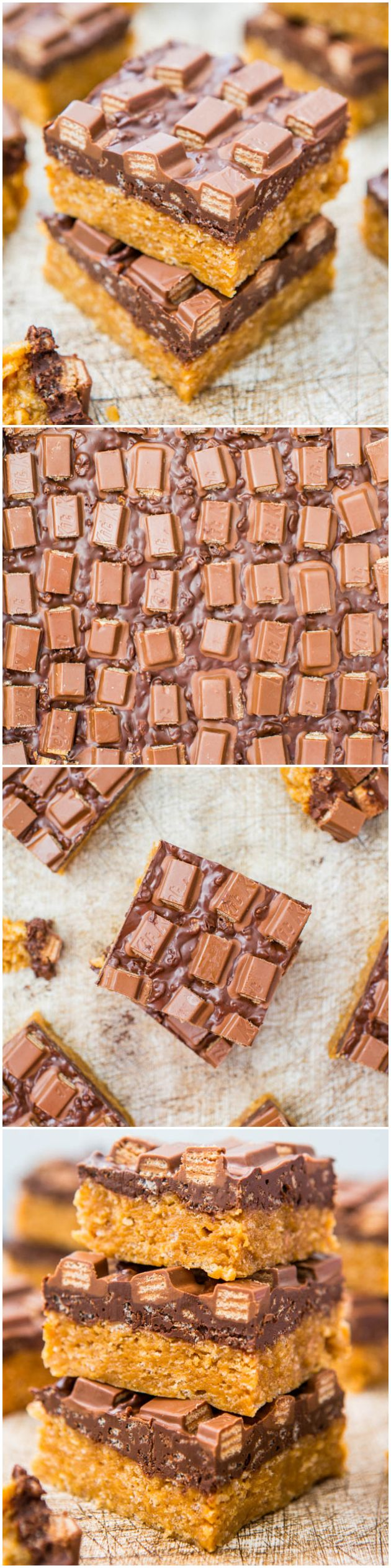 Chocolate Peanut Butter Kit Kat Crunch Bars - Easy, no-bake bars that are packed with peanut butter, chocolate & topped off with a wall of KitKats!  At averiecooks.com