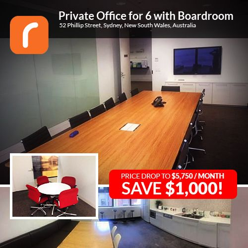 Bargain Office Suite in Sydney CBD. With room for 6 + Boardroom and all inclusive!!! Only $5,750 a month