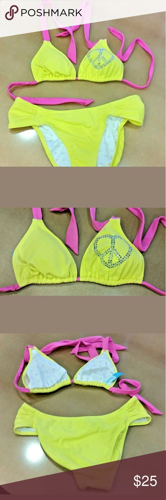 Victoria's Secret Pink Neon Yellow Bikini Medium Victoria's Secret Pink Neon Yellow and Pink Rhinestone Embellished Bikini  Triangle Top, Ruched Bottom  Juniors Size Medium  Gently Used - Clean Inside and Out - NO Flaws Found Upon Inspection and Photographing - See Photos for Desription  Smoke Free, Pet Friendly  Thank you for looking! Victoria's Secret Swim Bikinis