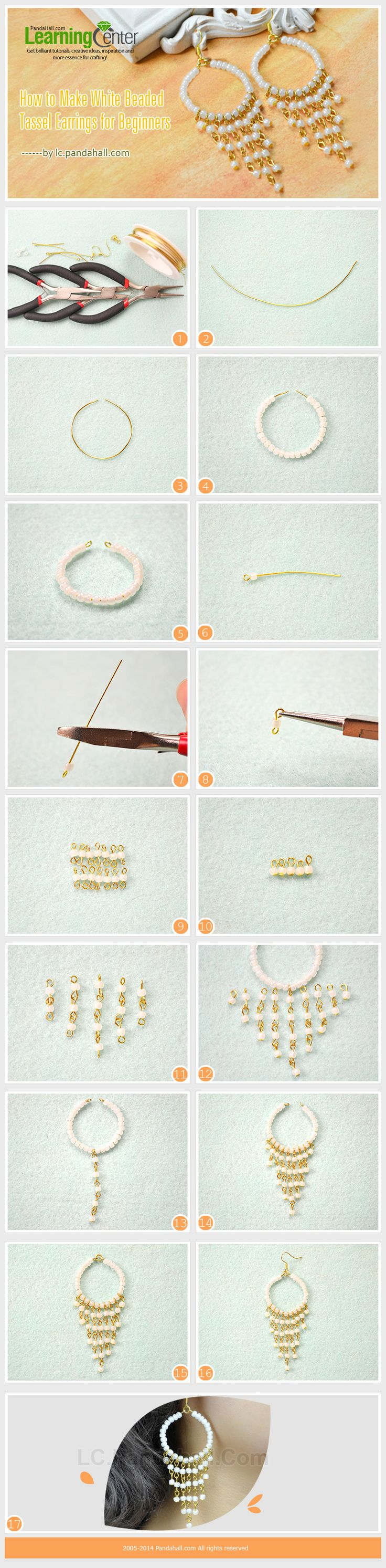 How to Make White Beaded Tassel Earrings for Beginners