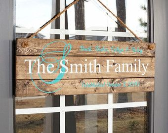 Family Name Established Sign  Front Door Decor by SilvaDesignLLC