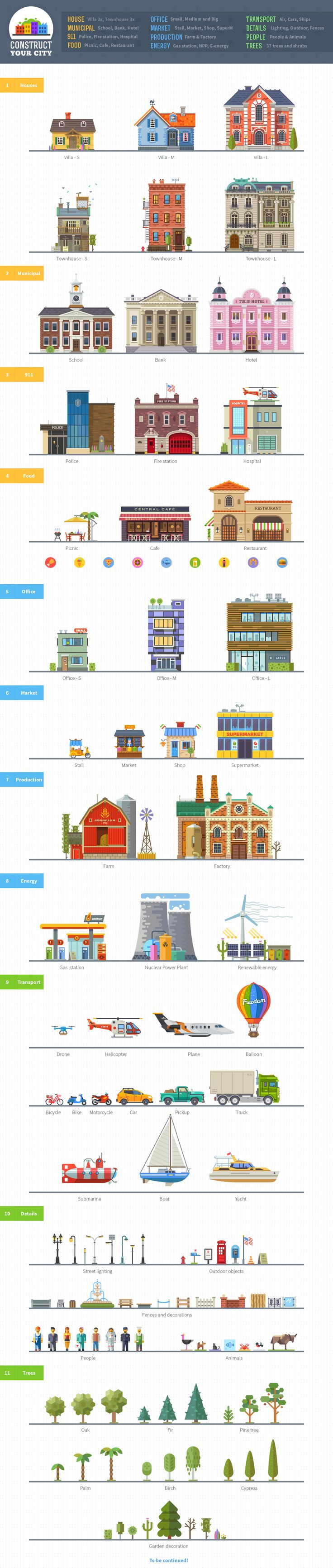#flat #illustration #flat_illustration Construct your city, flat vector KIT