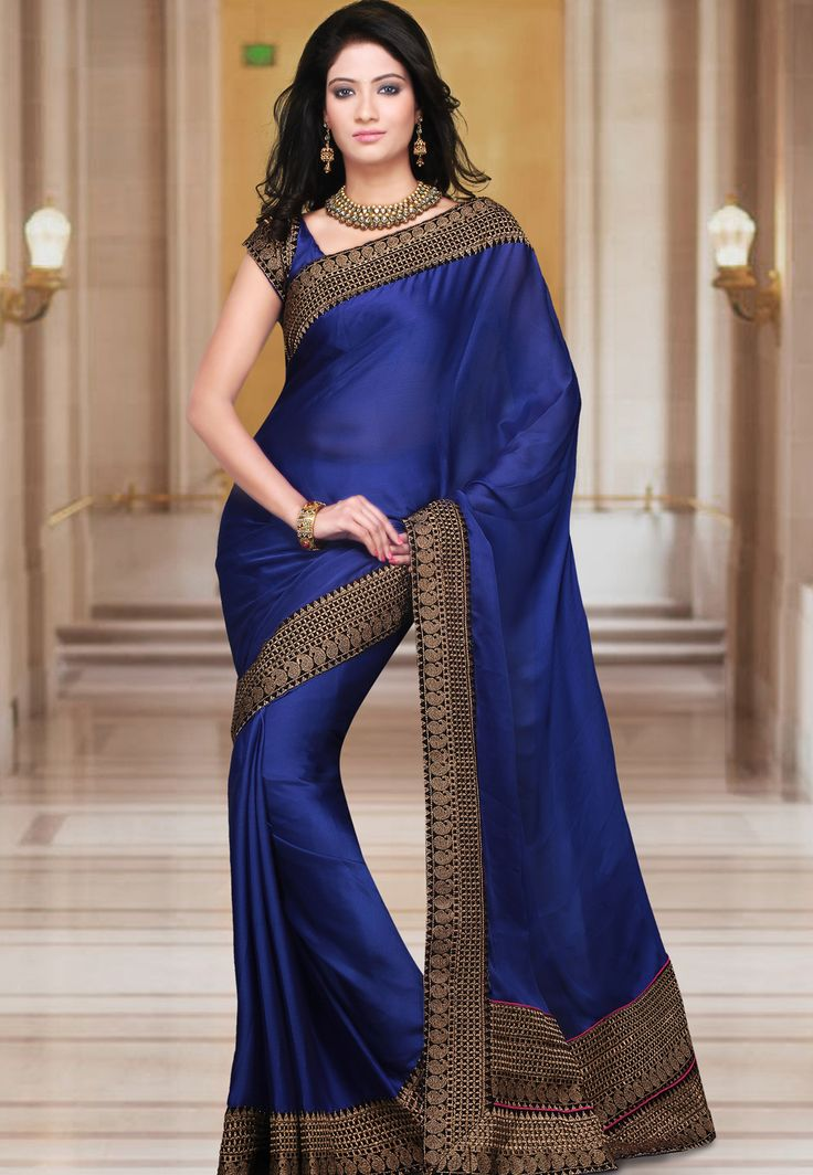 Royal Blue Faux Satin Chiffon Saree With Blouse @ $72.00
