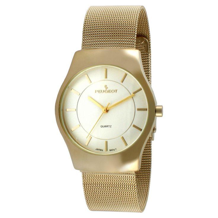 Men's Peugeot Stainless Steel Mesh Bracelet Watch - Gold