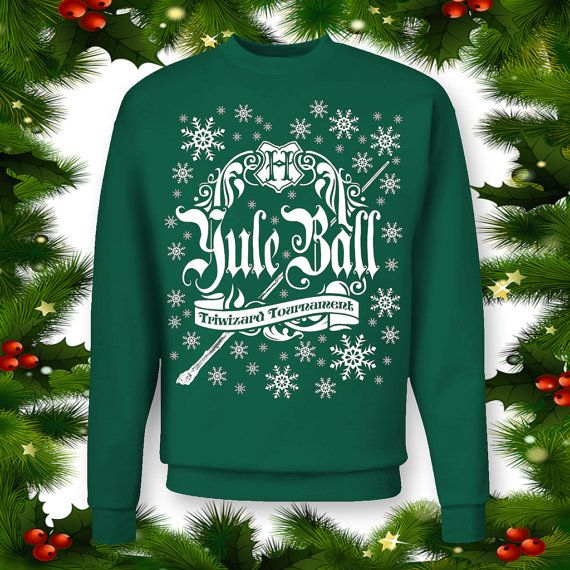 YULE BALL Ugly Christmas Sweater in Red or Green. Harry Potter Christmas. Harry Potter SweatShirt. Yule Ball Crewneck. Triwizard Tournament.