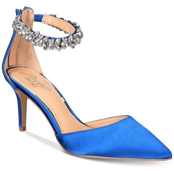 Jewel Badgley Mischka Audrey Embellished Ankle Strap Evening Pumps,... ($109) ❤ liked on Polyvore featuring shoes, pumps, blue satin, pointed toe ankle strap pumps, blue shoes, pointed-toe pumps, special occasion shoes and sparkly shoes