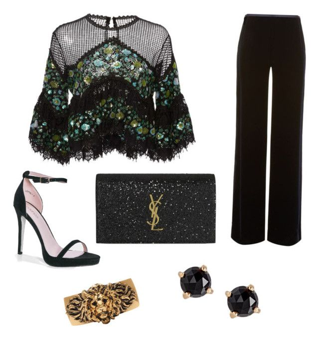 """""""Emerald City After Dark"""" by blakedena ❤ liked on Polyvore featuring Costarellos, Armani Collezioni, Boohoo, Yves Saint Laurent and Irene Neuwirth"""