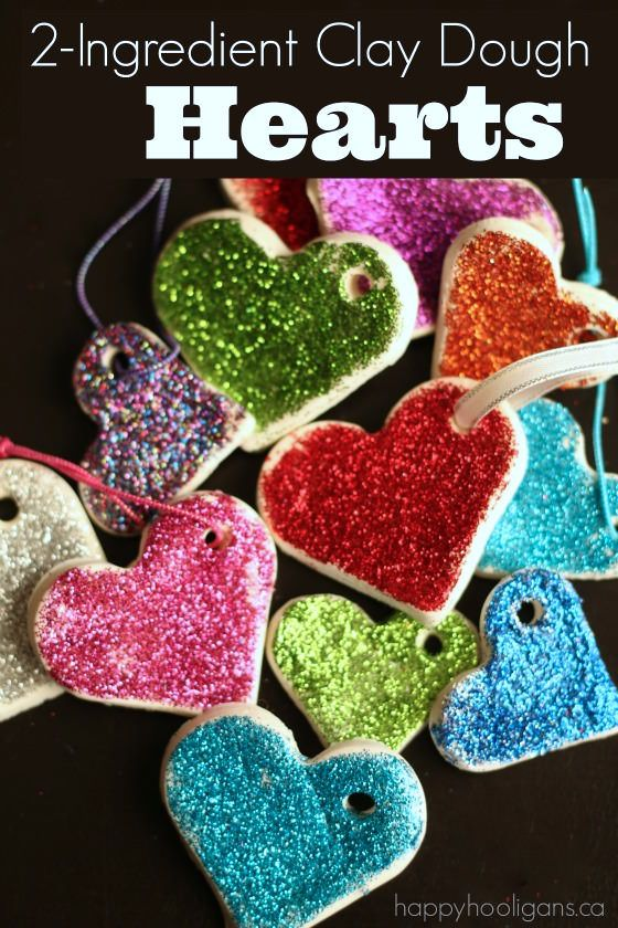 2-Ingredient Clay Dough Hearts - make gorgeous heart-shaped ornaments with our bright, white clay dough recipe - Happy Hooligans