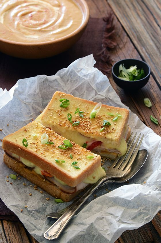 Satay-Inspired Turkey Grilled Cheese with Nutty Masala Sauce | An Edible Mosaic