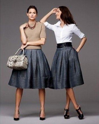 Пышные джинсовые юбки