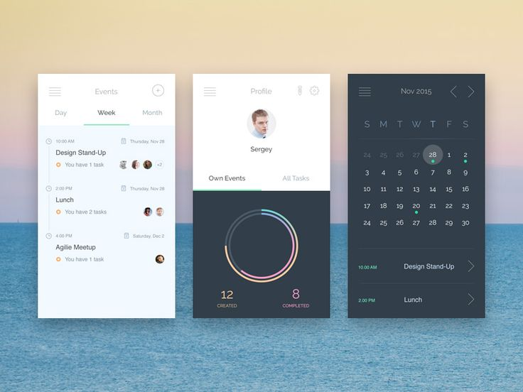 Such a well designed #event app which allows to create tasks, events, meetings. Also it shows statistics and status of tasks. It has has 3 screens: calendar, profile and events which are really easy to edit to fit your need.