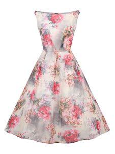 レトロワンピース アプリコット ノースリーブ ボートネック 綿混紡 花柄 レトロ プリント付き フルスカート 女性用