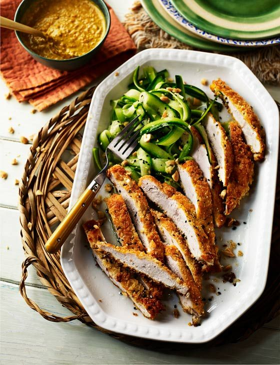 Crumbed katsu-style chicken with cucumber and peanut salad