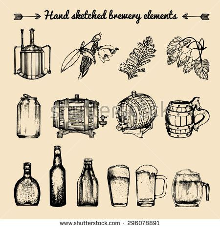 Vector set of vintage brewery elements. Retro collection with beer icons or signs. Lager, ale hand drawn symbols. Barrels, bottles, glasses, mugs, kettle, can, herbs and plants  sketched illustrations