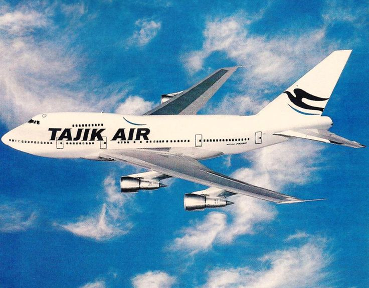 Poster print of Tajik Air's Boeing 747SP that was operated between London and Dushanbe, Tajikistan.  The aircraft was former Pan Am and United and was operated by Pan Am flight crews.