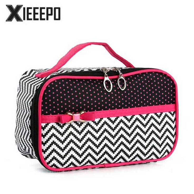 Women Travel Cosmetic Bag Trunk Makeup Case Zipper Dot Make Up Bags Handbag Necessaries Organizer Storage Pouch Toiletry Kit Box