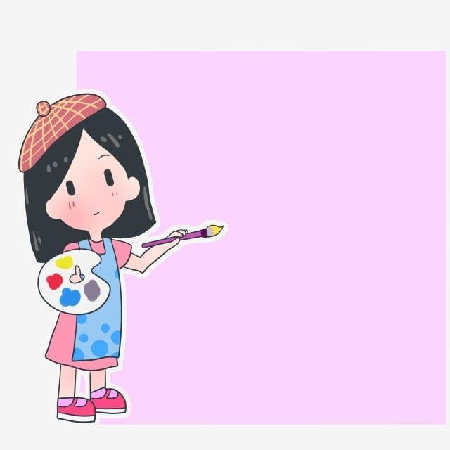 رسم فتاة لوحة ملونة رسم فرشاة الرسم الحدود مربعة الوردي لوحة ملونة الحدود شخصية لطيف رسم فرشاة الرسم Png وملف Psd للتحميل مجانا Girl Drawing Drawings Character
