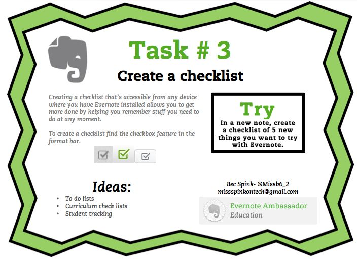 Evernote Task #3 Create a Checklist