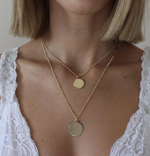 14k Gold Pendant Necklace Square Pendant Coin Necklace Etsy Fashion Necklace Diy Fashion Necklace Choker Designs