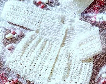 Vintage Crochet Pattern PDF Baby Matinee Set 4ply Jacket Bonnet and Booties Cardigan Coat Hat Bootees Boots Pram Set