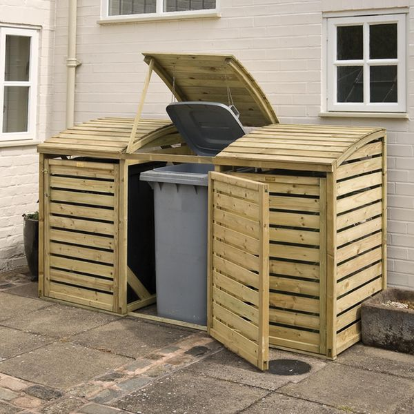 Triple bin store is attarctive storage for three wheelie bins. Features lifting lids for easy access, pressure treated against rot and is supplied in a natural timber finish. Max over all bin size H1060 W740 D740 Features